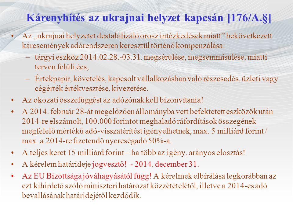 Kárenyhítés az ukrajnai helyzet kapcsán [176/A.§]